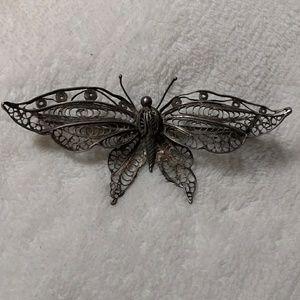 Antique Silver Filigree Butterfly Pin Brooch vinta